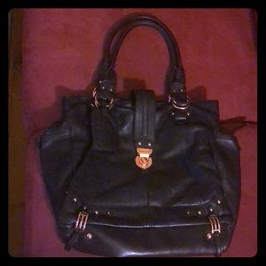 Black leather Hayden Harnett bag